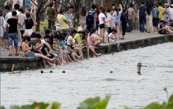 杭州西湖成了洗脚池